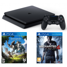 Sony Playstation 4 Slim 1TB Black + Horizon Zero Dawn + Uncharted 4: A Thief's End