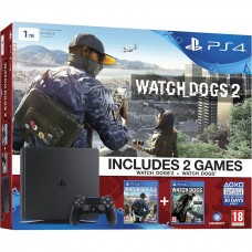 Sony Playstation 4 Slim 1TB Black + Watch Dogs, Watch Dogs 2